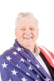 Patriotic Senior Man Wrap American Flag Isolated
