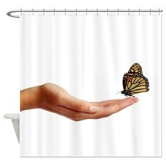 Our Butterfly Companion Shower Curtain will give your bathroom a beautiful and inexpensive lift that paint and tiles cannot do.  Please feel free to visit my Liberty & Grace General Store for more great ideas.